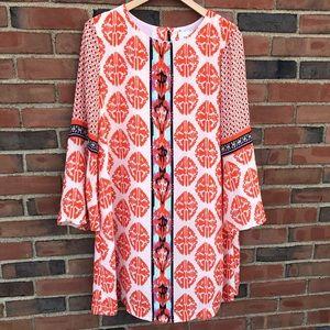 Anthropologie eci Ivory/Orange Shift Dress Size 10